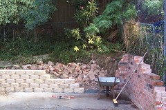 The old and the new. (fairyduff) Tags: construction brick wall garden landscaping diy demolition rubble