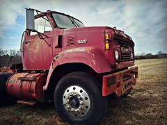 BIG Red (Dave* Seven One) Tags: gmc 9500 1970s gmc9500 rusty rust red farm field clouds sky truck semi tractor junk salvage abandoned forgotten