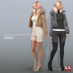COCO New Release @ Fameshed (cocoro Lemon) Tags: coco newrelease fameshed fauxfur jacket halterneck dress maitreya slink belleza magika