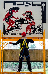'Metaphorically Speaking' (Canadapt) Tags: ubc firstnations art worker scaffold metaphor allegorical socialcommentary juxtaposition museum vancouver canadapt liberty conflict industrialization landclaims treaties