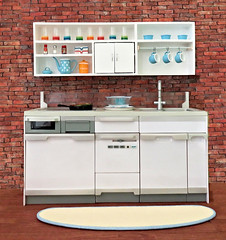 Re-ment System Kitchen With Upper Cabinets (MurderWithMirrors) Tags: rement miniature kitchen systemkitchen sink stove cabinets glasses cups seasoning spices mwm