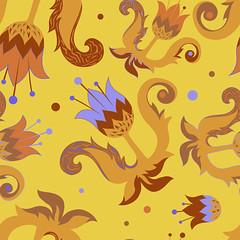 Floral seamless pattern (heliga3333) Tags: art backdrop background cute deco decor decoration decorative design doodles dress endless fabric fashion floral flourish flowers gentle illustration leaves line ornament ornamental ornate paper pattern plant red yellow purple