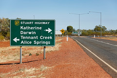 Three Ways - Stuart Highway (Rob Harris Photography) Tags: australia red redcentre remote outdoors outback country tourist tourism roadtrip travel nature northernterritory colours road sign route directions highway
