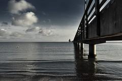 no wind (liebeslakritze) Tags: calm winstille ostsee seebrücke balticsea seagull möwe wolken himmel meer sky clouds seaside