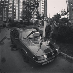 Zr5O4de9vKM (dulldrew) Tags: fisheye car she chevrolet bw photo people russia moscow tuning