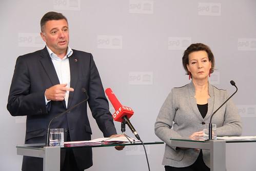 Pressekonferenz mit Leichtfried und Heinisch-Hosek zu Volksbegehren im Nationalrat, 13.11.2018