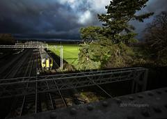 I Got Them Blues.  Explored.  04-12-2018. (-Metal-M1KE-) Tags: londonmidland londonnorthwesternrailway rugeley rugeleynorthjunction 350 350114 blue ultramarine rain unit train bridge soaking ef1635mmf28liiusm canoneos5dsr