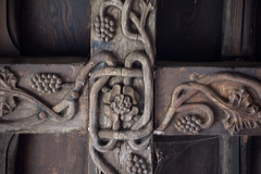 Tong, Shropshire, St. Bartholomew's church, south aisle, east bay, roof beams (groenling) Tags: tong shropshire salop westmidlands wolverhampton england britain greatbritain gb uk stbartholomewschurch southaisle eastbay roof beam wood carving woodcarving foliage vine berry