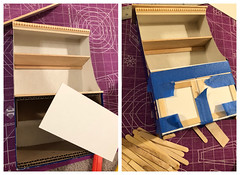 2 of 5. Cabinet construction (Foxy Belle) Tags: doll furniture make cabinet kitchen old fashioned primitive cardboard box ooak recycle shelf diy cheap inexpensive barbie blythe 16 scale playscale how tutorial cottage style