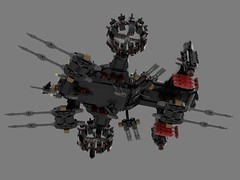 n75 thompson transport gunship (battleship)4 (demitriusgaouette9991) Tags: lego ldd military army armored powerful deadly destroyer vtol aircraft railgun lasers lmg landing bombs turret transport future flying cockpit whitebackground