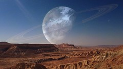 Planets Over Desert (Iforce) Tags: landscape wallpaper planet stars sky art composition design digital desert awardtree