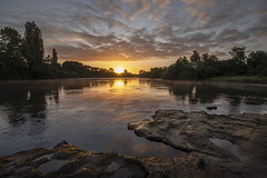 A fish out of water (zebedee1971) Tags: sunrise landscape river waikato fish fishing bank hamilton rocks rocky sun rays cloudy trees water timelapse sequence fog mist misty morning