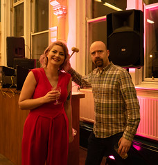 Lisa & Mr Scruff at SAC32 art Exhibition - Stretford Public Hall.jpg (The Neepster) Tags: sac32artexhibition2018 dj music stretford artists auction stretfordpublichall