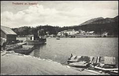 Postkort fra Telemark (Avtrykket) Tags: bolighus brygge dampbåt hus lekter postkort telemark norway