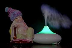 Diffucianism (Andrew Gustar) Tags: buddha sleep bobble hat aromatherapy diffuser volcano