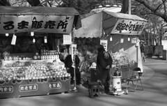 Vendors keep themselves warm with a heater (odeleapple) Tags: voigtlander bessa r2m carl zeiss planar 50mm kodak400tx film monochrome analog bw vedor stall doll dharma