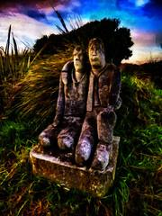 Bruvvers (Steve Taylor (Photography)) Tags: brother plinth digitalart sculpture carving colourful stone rock newzealand nz southisland canterbury christchurch grass texture autumn dawn cloud sky bonsuter sculpturepark southnewbrighton
