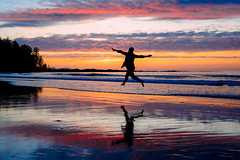 Jumping for Joy (Bhlubarber) Tags: alia backcountry backpack bc beach camp canada capescott hike hiking landscape nature ocean outdoors pacific park sandra summer tim trail vancouverisland wilderness jumpforjoy