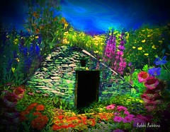 Garden Cottage (brillianthues) Tags: flowers floral nature sky cottage garden colorful collage photography photmanuplation photoshop