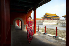 Chinese lady walk in red cheongsam dress in ancient Chinese forbidden palace (anekphoto) Tags: forbidden city palace china beijing ancient chinese museum architecture building tourism asia landmark famous east destination dynasty heritage empire beautiful old sky travel traditional history religion tourist roof capital emperor scenery red yellow historic temple attraction majestic unesco imperial tiananmen royal park cloud asian lady women walk dress cheongsam newyear