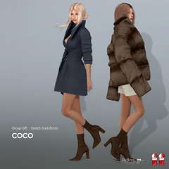 COCO Group Gift : Stretch Sock Boots (Brown) (cocoro Lemon) Tags: coco groupgift boots mesh maitreya slink belleza midheel