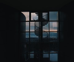 Window view from Perlan building (dan10stevens) Tags: architecture vsco reflection glass city stairs nikon window silhouette shapes lines buildings reykjavík iceland perlan