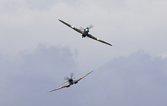 Spitfire & Hurricane (Bernie Condon) Tags: dunsfold wingswheels airshow surrey uk aviation aircraft flying display hawker hurricane warplane fighter raf royalairforce fightercommand ww2 battleofbritian bbmf memorialflight military preserved vintage vickers supermarine spitfire