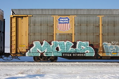 MULs (quiet-silence) Tags: graffiti graff freight fr8 train railroad railcar art muls mul madeulook autorack up unionpacific ttgx974663
