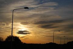Sunburst with Lampposts (J_Piks) Tags: 2018 road motorway m62 lampposts streetlighting streetlights