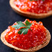 Sandwiches with red caviar and bread