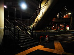 Tokyo (Meg Kamiya) Tags: tokyo japan night light colour city olympus omd em10 stairs expressway footbridge
