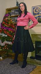 Pink satin blouse, black skirt - 2 (Kassi-D) Tags: crossdresser crossdress transvestite trans tgirl satin blouse