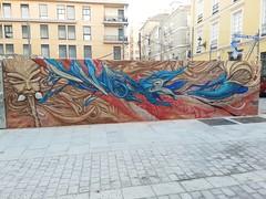 (Amarzz) Tags: hashtags graffiti illegal ilegal wallart mural paint painting pintura art arte malaga spray marron brown red rojo oxido azul blue mask mascara masquerade poesía impulso