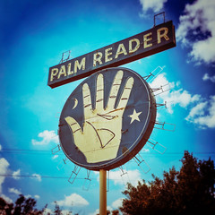 palm reader. fowler, ca. 2016. (eyetwist) Tags: eyetwistkevinballuff eyetwist palmreader psychic sign roadsideamerica fowler fresno california processed photoshop lensblur vignette digixpro square supersaturated signaltonoise postprocessed postprocessing typography type signs typographic signage text letters graphic color vintage neon bulbs central valley highway99 99 bypassed signgeeks apps saturated iphone palm reader madamsophia horoscope future famous landmark hand round circle blue