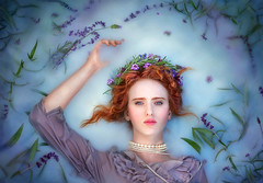Ophelia ({jessica drossin}) Tags: jessicadrossin portrait photography redhair lavender blue water dress pearls hair wwwjessicadrossincom