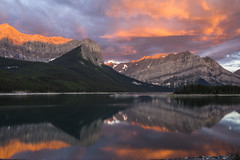 Upper Kananaskis Lake, reflection at sunrise (birgitmischewski) Tags: upperkananaskislake alberta kananaskis reflection sunrise