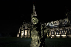 Salisbury Cathedral At Night (Crisp-13) Tags: salisbury cathedral night after dark spire elixabeth frink walking madonna