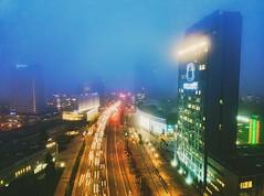 foggy Vilnius (Zygios) Tags: vilnius lithiuania lietuva city cityligths lightstrails fog foggy morning architecture road autumn traffic dji mavicpro dronefly dronephotography drone building night mist sky sign long exposure 1