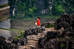 Red Dress  (in explore) (Rod Waddington) Tags: vietnam vietnamese dragon mountain red dress steps rocks rice paddy woman hat landscape outdoor ethnic ethnicity culture cultural karst