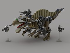 Spinosaurus Rider with Woman flyers (showcase) (demitriusgaouette9991) Tags: lego military army ldd armored powerful theropod dino riders flying deadly lmg missile whitebackground