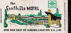 Vintage Matchbook Cover - Foothills Motel - Auburn, Calif. (hmdavid) Tags: vintage matchcover matchbook midcentury art illustration advertising monarch foothills motel auburn california