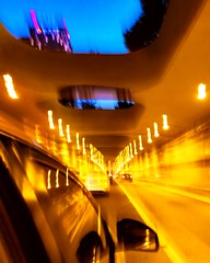 That intoxicated evening (cresting_wave) Tags: iphoneography mobileography iphonephotography mobilephotography streetphotography nightphotography iphone7plus procamera snapseed architecture transportation cityscape car motionblur tunnel streetlamps sky speed lighttrails rearviewmirror