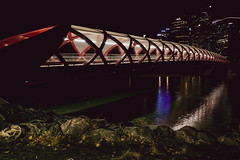PEACEBRIDGE-06483 (ashleycousinsphotography) Tags: red calgary straw nighttime white architecture infrastructure pedestrian city night cityscape