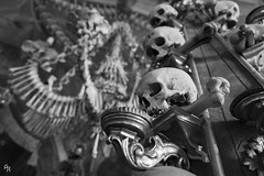 The ossuary of Sedlec (Andrea Rizzi Esk) Tags: skull architecture black white czech republic kutná hora ossario sedlec europe sant church bones creepy ossuary column