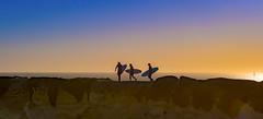 Surfers, Santa Cruz, CA (I saw_that) Tags: surfer blue azul orange sunset cliff ridge seashore california youth friends sport living fun