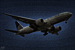 Night flight (Jersey JJ) Tags: united airlines air lines boeing 777 fractalius umatrix topaz adjust plugins run running amok jj n78004