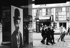 Chaplin and the street - Brno (Daz-cz) Tags: fomapan200 fomadonr09 pentaxme canoscan9000f 35mm film filmphoto analogue analog street streetphoto brno