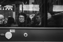 Penny for your thoughts. (markfly1) Tags: woman lady bus passenger wistful daydream gazing out window looking seeing glasses people street candid image london england uk voyeur nikon d750 50mm nikkor lens glass buttons transport