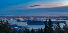 Heavenly City Pano (Explored) (Sworldguy) Tags: vancouver pano panorama clouds sunset colorful westcoast winter cypress westvancouver misty metro trees harbour britishcolumbia wideshot sonya73 mountains ocean skyline city citylights bluehour skyscape