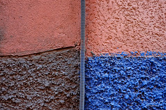 Moroccan textures (Tilemachos Papadopoulos) Tags: qoq squares essaouira red blue fuji fujifilm fujinon outdoor orange contrast texture abstract abandoned street architecture decay jemaaelfnaa lines xe2 colourful colour shape mirrorless minimal morocco marrakech maroc